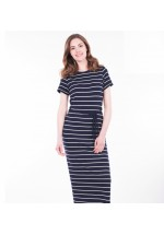 Brakeburn Stripe Short Sleeve Maxi Dress