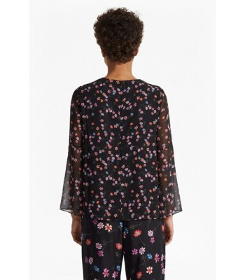 French Connection Bluhm Botero Sheer Fluted Sleeved Top