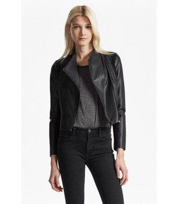 French Connection Chariot Wrap Over Faux Leather Jacket