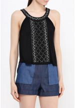 French Connection Cropped Embellished Sleeveless Top