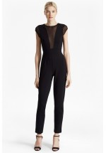 French Connection Marie Chiffon Sleeveless Jumpsuit (Black)