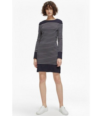 French Connection Navy Stripe Nautical Stretch Dress (Utility Blue/Class Crm)