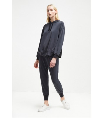 French Connection Washed Cupro Jersey Hoodie (Black)