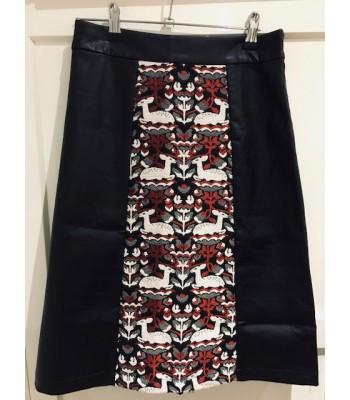 Traffic People Reindeer Fairisle Leather Skirt (Black / Red)