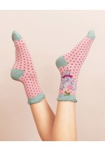 Powder Dancing Elephant Ankle Socks