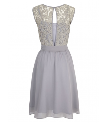 Uttam Boutique Embellished Lace Dress (grey)