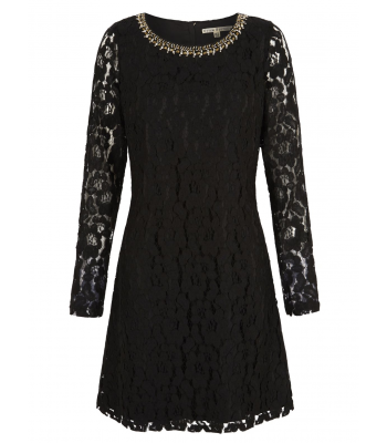 Uttam Boutique Lace Embellished Long Sleeve Shift Dress