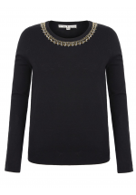 Uttam Boutique Embellished Crew Neck Jumper (black)