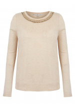 Uttam Boutique Embellished Crew Neck Jumper (nude)