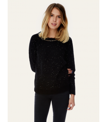 Yumi Chunky Knit Gold Chain Embellished Jumper