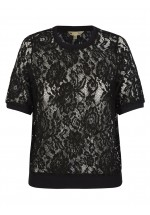 Yumi Lace Short Sleeve Top (Black)