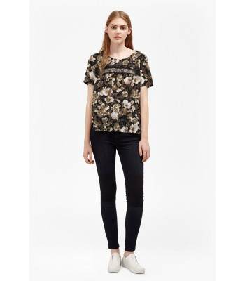 French Connection Adeline Dream Floral Lace Top (Olive Night)