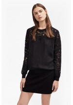 French Connection Aries Cupro Lace Sleeved Sweatshirt (Black)