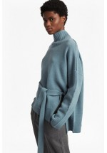 French Connection Reba Knits Long Sleeved High Neck Jumper (Arona Blue Mel)