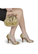 Ruby Shoo Eliza Green & Gold Floral Vintage Style Peep Toes - Bag Free !!!