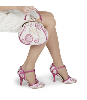 Ruby Shoo Vintage Inspired Polly Fuchsia Heels and Arco Bag Set - Bag at Half Price !!!
