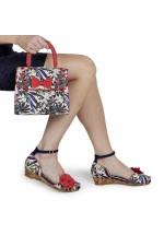 Ruby Shoo Phyllis Sage Floral Peep Toe Wedge Sandal and Santiago Bag Set - Bag at Half Price !!!