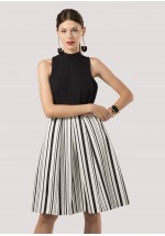Closet Black and White Striped 2-In-1 Dress