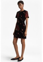 French Connection Wilma Devoré Short Sleeved Dress (Black)