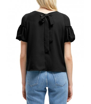 French Connection Puff Sleeve Top (Black)