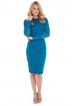 Pretty Dress Company Blake Indian Teal Luxury Lace Pencil Dress