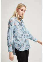 French Connection Kioa Crepe Tie Neck Top (Pavilion Blue Multi)