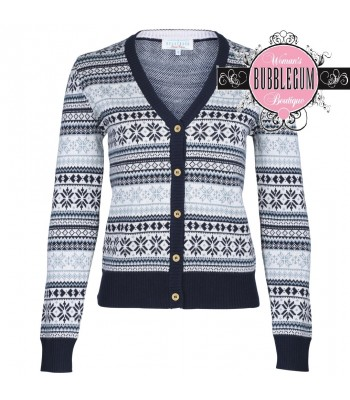Brakeburn Fair Isle Cardigan Navy And Multi