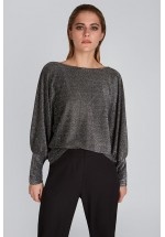 LOUCHE CECILE BALLOON SLEEVE TOP SILVER