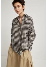 French Connection Materia Cotton Gingham Pull Over Shirt (Black)