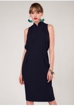 Closet Navy Mandarin Collar Pencil Dress