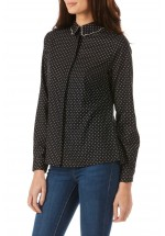 Sugarhill Boutique Devra Polka Dot Shirt (Black/Off White)