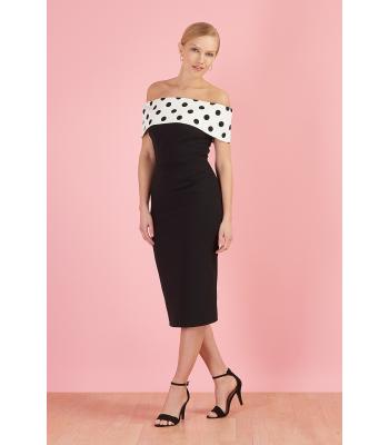 The Pretty Dress Company Dani Polka Dot Bardot Black Pencil Dress