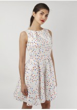 Closet Multi Polka Dot White Skater Dress