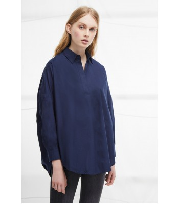 French Connection Rhodes Poplin Relaxed Fit Shirt (Navy)