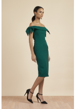 Pretty Dress Company Tilly Off The Shoulder Bow Pencil Dress (Forest Green)