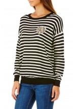 Sugarhill Boutique Gertrude Heart Applique Stripe Sweater
