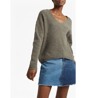 Ftrench Connection Two Tone Tweed Knit V Neck Jumper