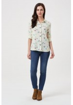Sugarhill Boutique Blair Scribble Hearts Cream Shirt