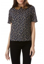 Sugarhill Boutique Hazel Ditsy Print Double Collar Top