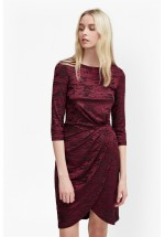 French Connection Stable Jacquard Wrap Dress (Zinfandel)