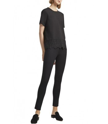 French Connection Lace Trim Top (Black)