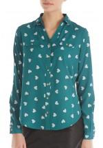 Sugarhill Boutique Lexi Heart Print Shirt (Green)