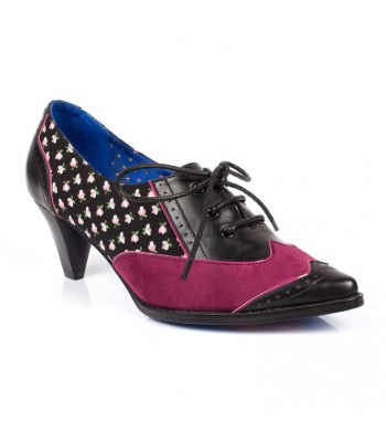 Poetic Licence Madame Pointy Laced Shoes Black Purple Multi