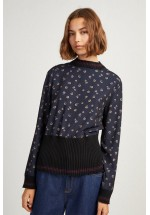 French Connection Mahi Print Knit Jumper (Utility Blue / Gold)