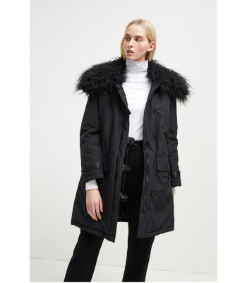 French Connection Marlow Utility Faux Fur Collar Parka (Black)
