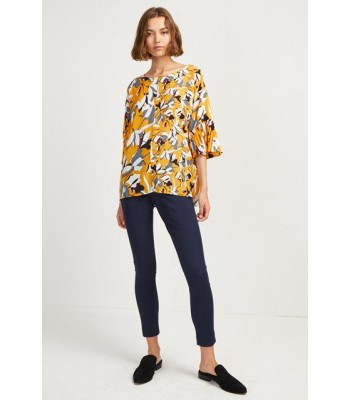 French Connection Aventine Light Print Sleeve Top (Calluna Yellow Multi)