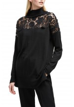 French Connection Nadia Lace Knit Jumper (Black)