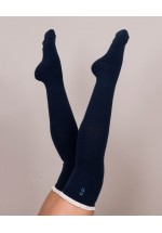 Powder Lace Top Long Socks (Navy)