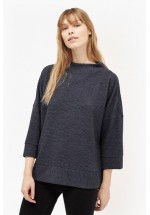 French Connection Sudan Marl Ribbed Oversized Top (Utility Blue)