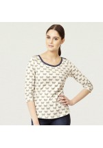 Ness Myra Printed Top (Olive Butterfly)